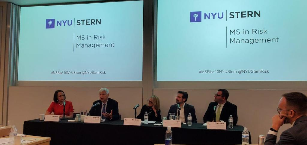 Dr. Madelyn Antoncic, CEO of the Global Algorithmic Institute, at the NYUMS in Risk Management Program  2019 Symposium (center). She was on the Climate Risk Panel, along with Nobel Laureate economist Robert F. Engle III (October 25, 2019)