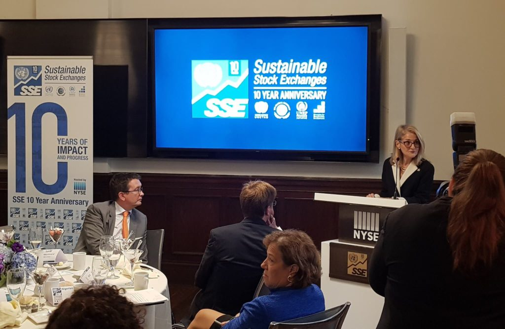 Dr. Madelyn Antoncic, CEO of the Global Algorithmic Institute, speaking at the New York Stock Exchange at the 10th anniversary of the Sustainable Stock Exchanges Initiative (SSE). (September 26, 2019)