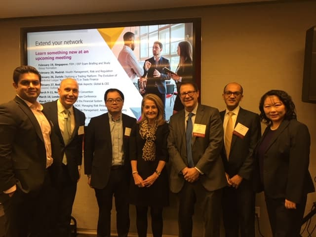 Dr. Madelyn Antoncic, CEO of the Global Algorithmic Institute, with fellow speakers at the GARP NY Climate Risk Panel (January 31, 2020)