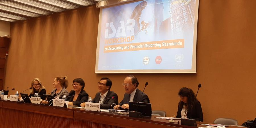 Dr. Madelyn Antoncic (left), CEO of the Global Algorithmic Institute, was a panelist at UNCTAD-ISAR workshop on climate-related financial disclosure (October 2019)